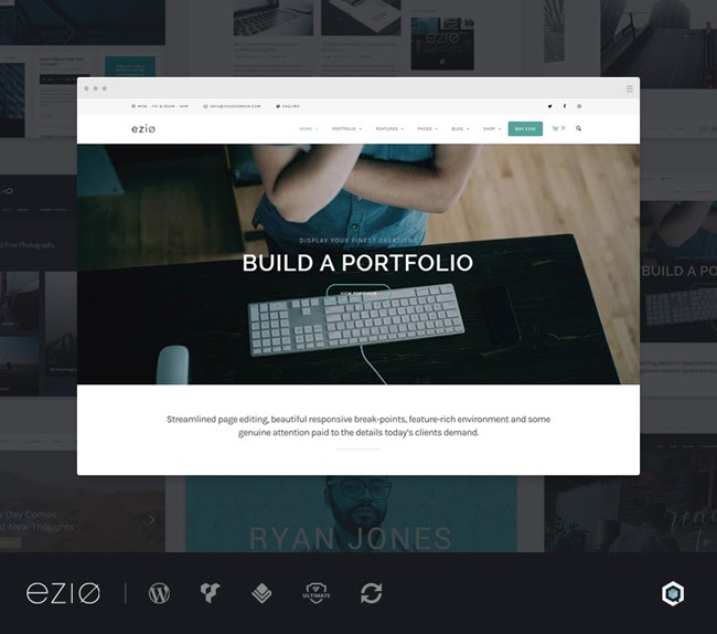 ezio business theme for wordpress homepage