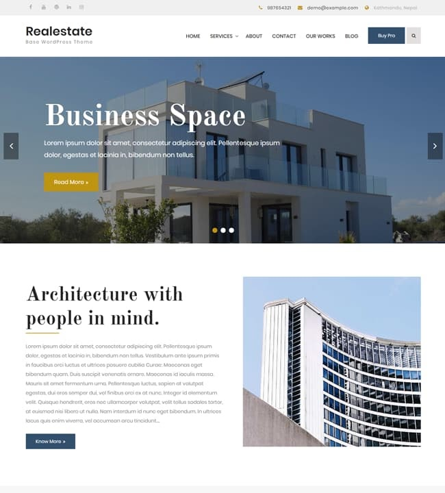 Real estate base theme for wordpress featuring a building on the front page of the website
