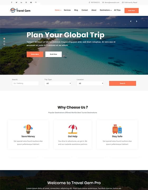 Travel Gem wordpress theme with beaches and vacation destinations on the website home page