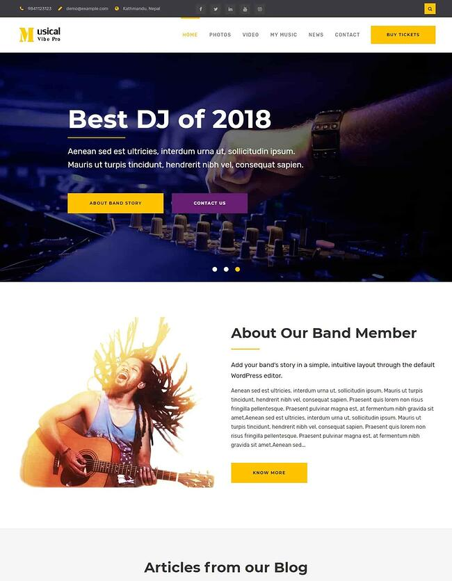 Musical vibe wordpress theme with a purple background and a DJ on the website homepage