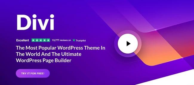 Divi WordPress theme with a purple and orange gradient background