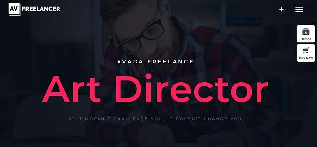 Avada Freelance WordPress theme featuring a dimmed image of an art director