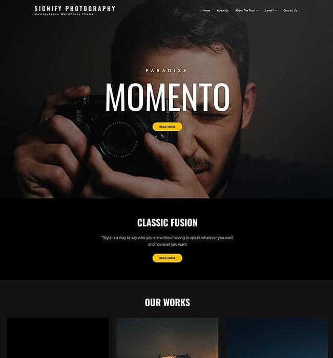 Serenity Photography theme for wordpress with a photographer on the front page behind the words momento