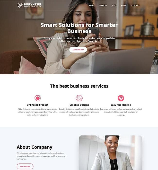 Busyness wordpress theme with a woman on the front page using her cell phone