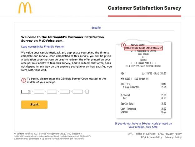 customer satisfaction survey example: mcdonald's