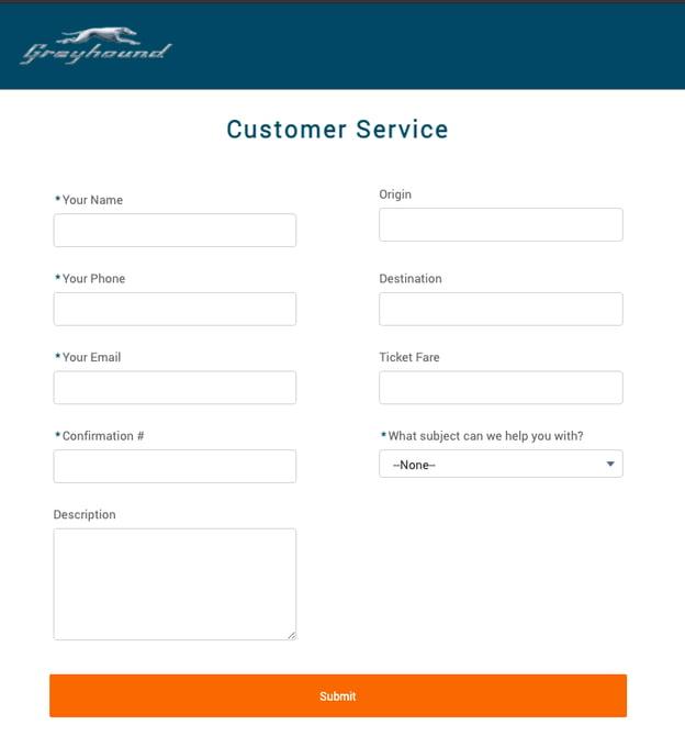 customer satisfaction survey example: greyhound