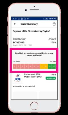 customer satisfaction survey example: paytm