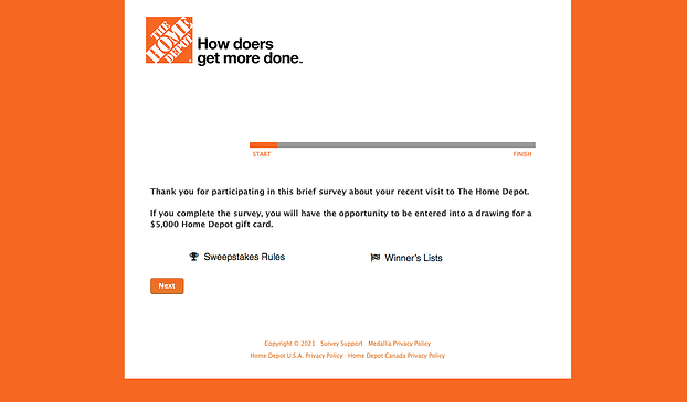 customer satisfaction survey example: home depot