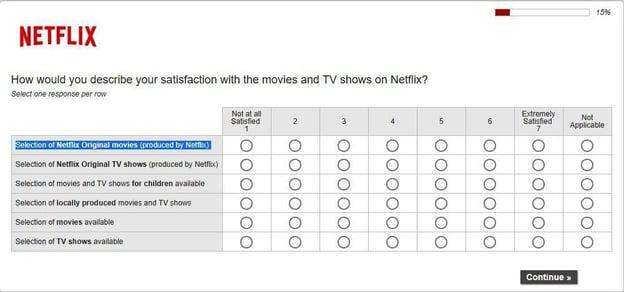 customer satisfaction survey example: netlfix