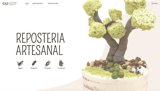 homepage for the bakery website La Cannelle de Martini