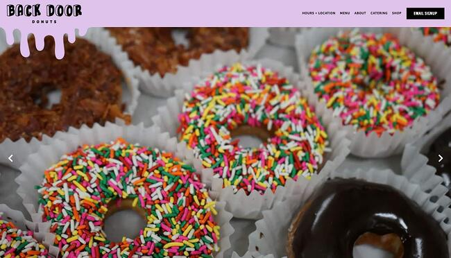 homepage for the bakery website back door donuts