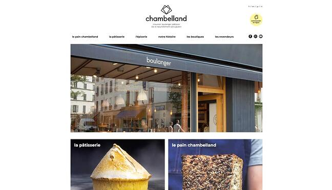 homepage for the bakery website Chambelland