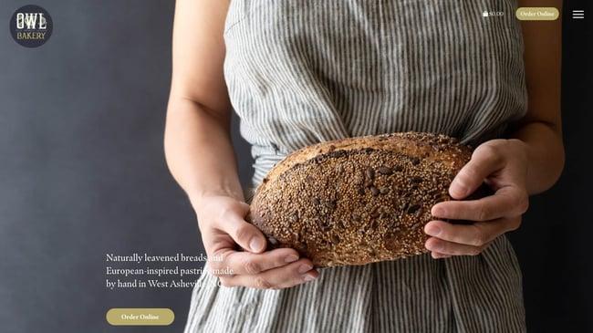 homepage for the bakery website owl bakery