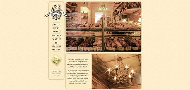 homepage for the bakery website Balthazar Bakery