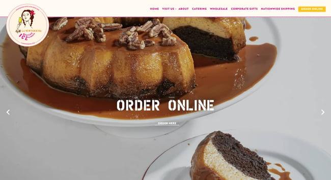 homepage for the bakery website La Newyorkina