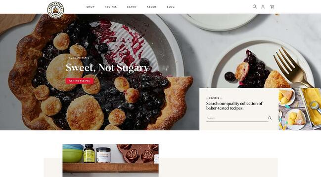 homepage for the bakery website King Arthur Baking Company