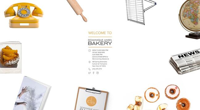 homepage for the bakery website Dominique Ansel Bakery
