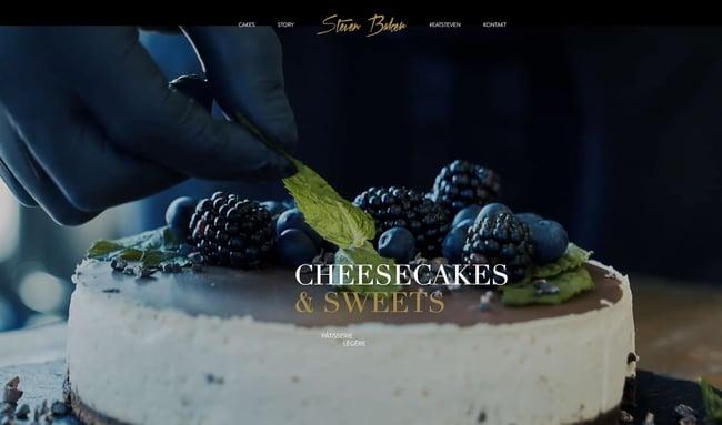 homepage for the bakery website steven baker