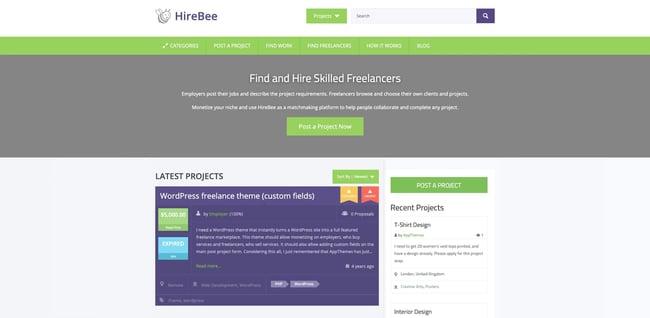 theme demo for the wordpress job board theme hirebee