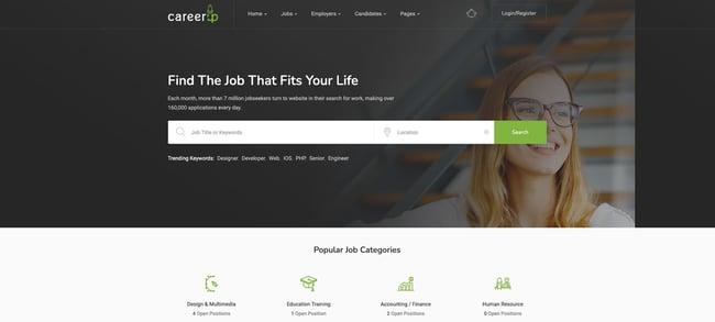 theme demo for the wordpress job board theme careerup