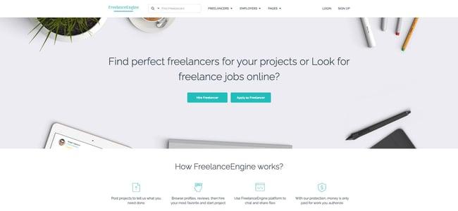 theme demo for the wordpress job board theme freelanceengine