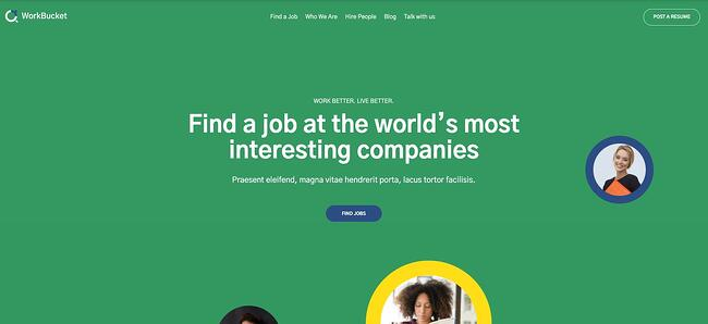 theme demo for the wordpress job board theme workbucket