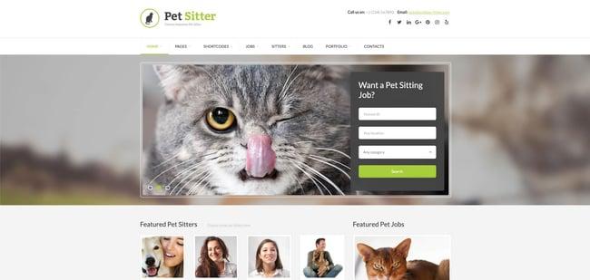 theme demo for the wordpress job board theme pet sitter