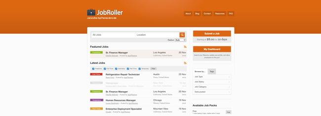 theme demo for the wordpress job board theme jobroller