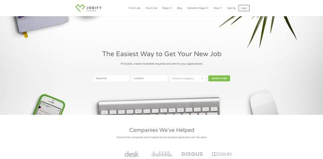 theme demo for the wordpress job board theme jobify