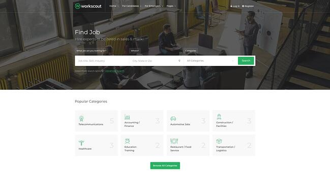 theme demo for the wordpress job board theme workscout