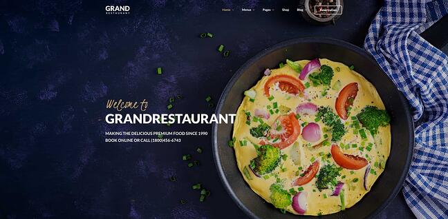 demo of the responsive business wordpress theme grand restaurant