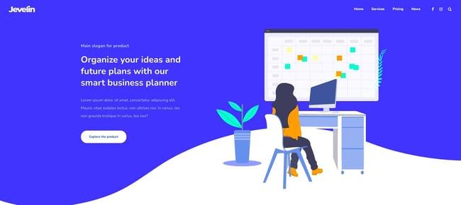 demo of the responsive business wordpress theme jevelin