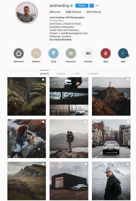 Dark Colors Instagram Theme Example