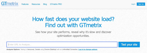 GTmetrix blog SEO tool