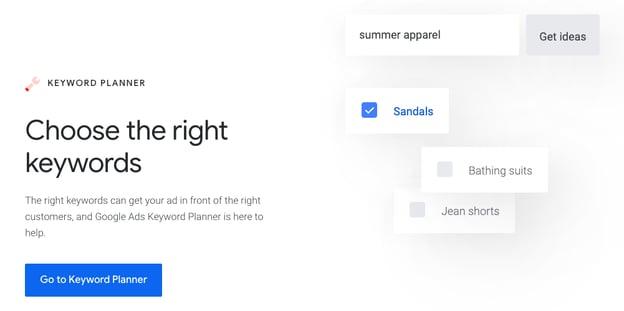 Google Keyword planner blogging tool