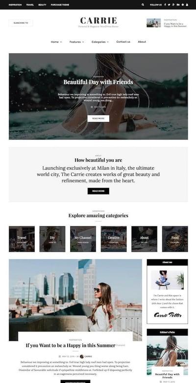 Best WordPress Instagram Theme Carrie