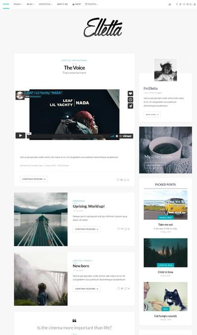 Best WordPress Instagram Themes Elletta