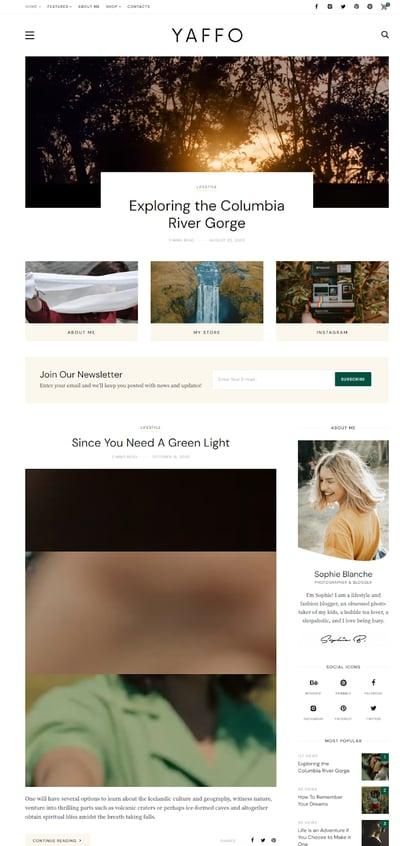 Best WordPress Instagram Themes Yaffo