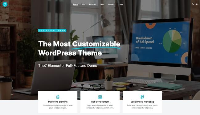 demo page for the best wordpress theme for seo the7