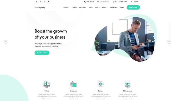 demo page for the best wordpress theme for seo ekko
