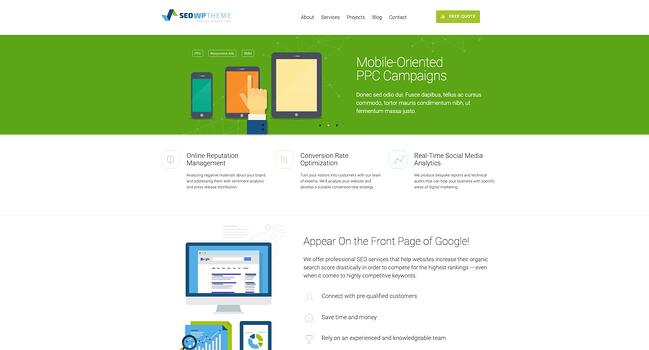 demo page for the best wordpress theme for seo seowp