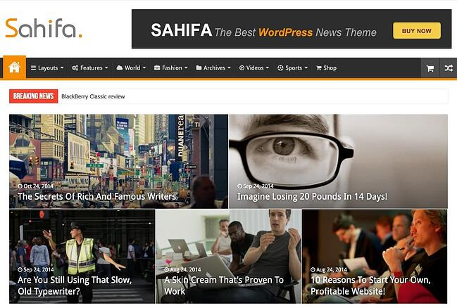 demo page for the best wordpress theme for seo sahifa