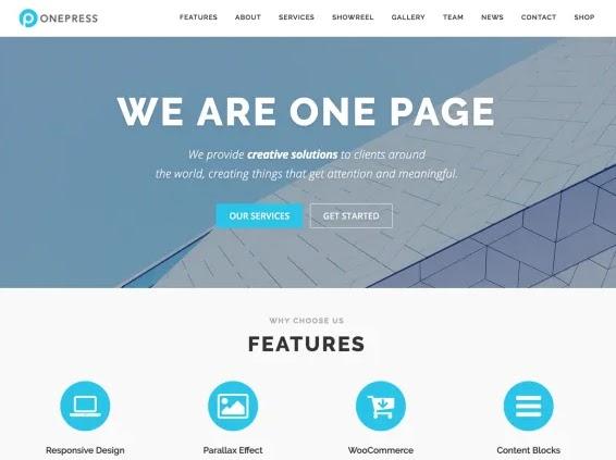 most popular wordpress theme demo example: onepress