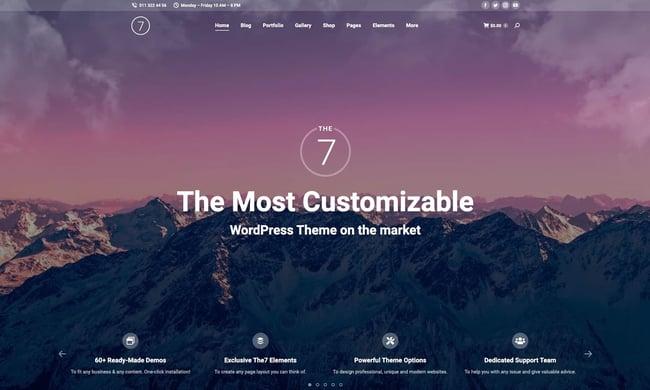 most popular wordpress theme demo example: the7