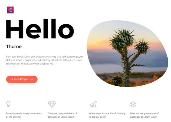 most popular wordpress theme demo example: hello elementor