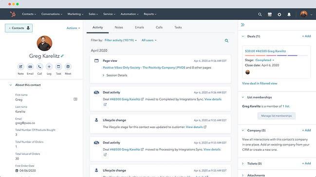 Best WordPress Plugins: HubSpot CRM via HubSpot for WooCommerce plugin