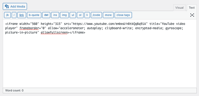 the classic text editor in wordpress containing iframe code