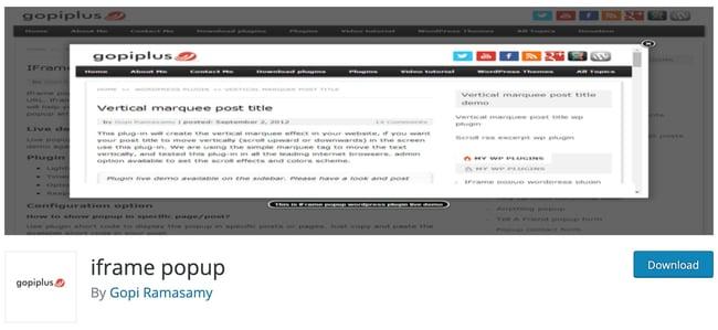 iframe wordpress plugin: iframe popup