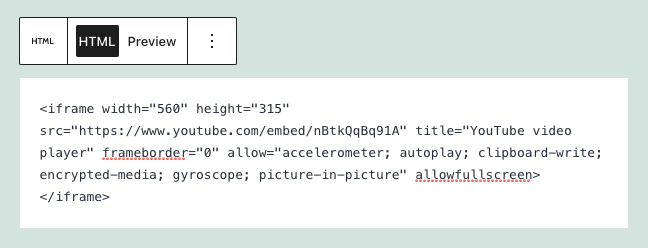 an html block in wordpress containing iframe code