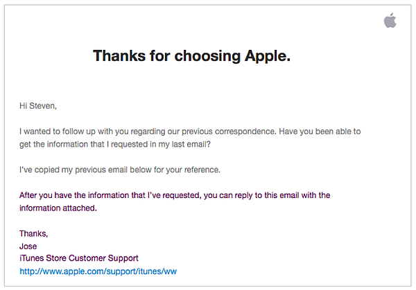 follow-up email example  Apple